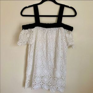 Alice Blue Lace Bardot Top with Straps